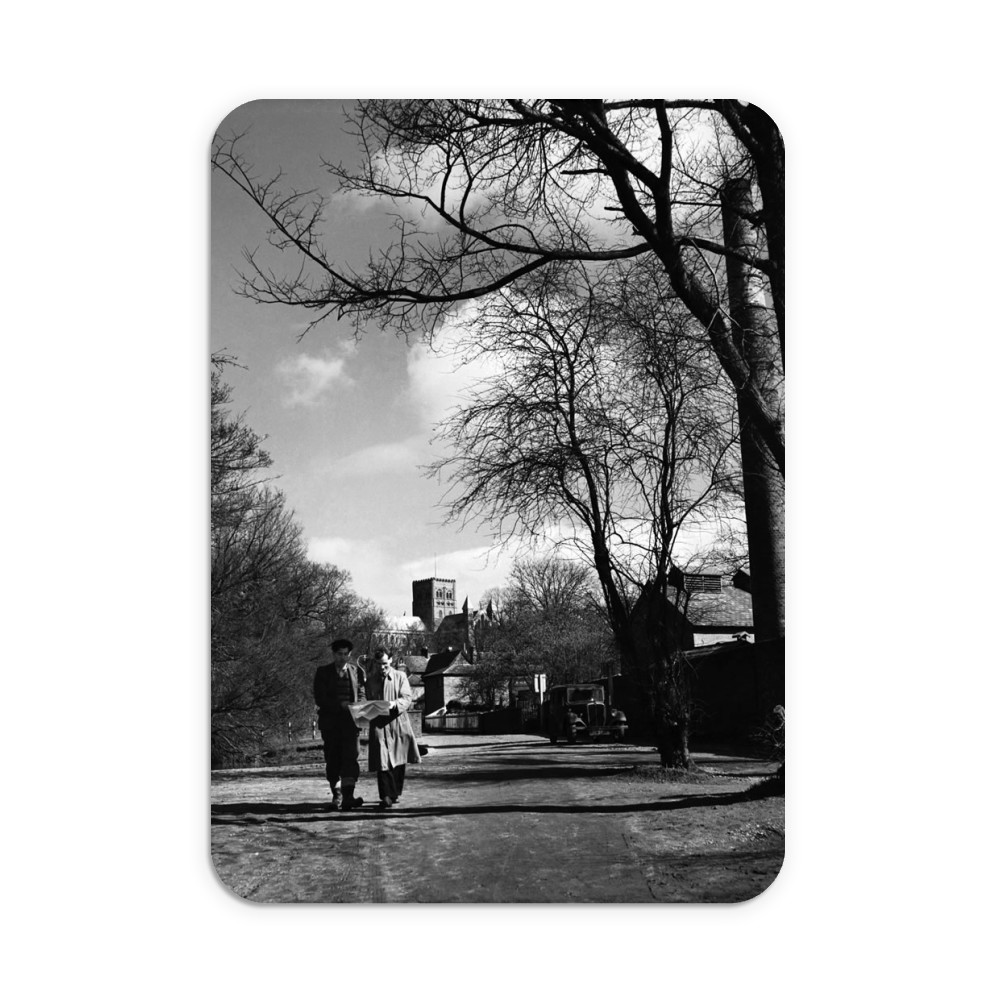 Two men walking through the park in St... Mousemat