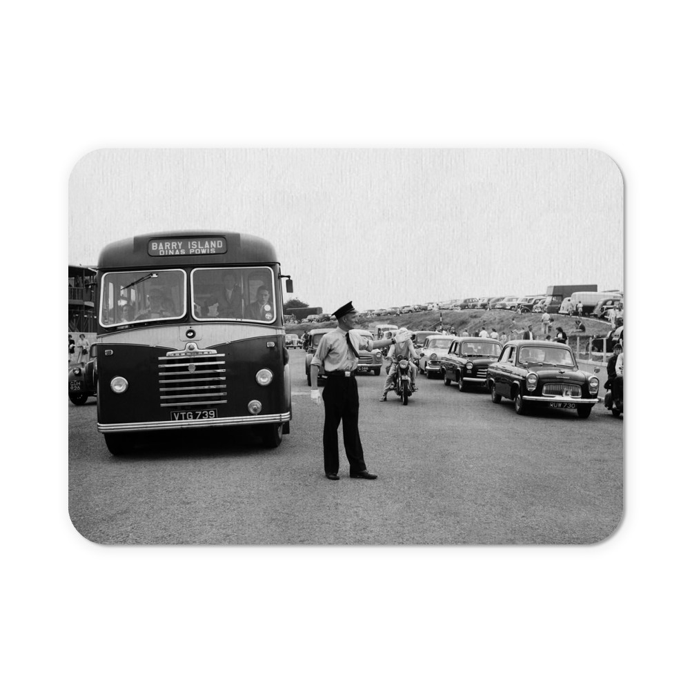 Holiday Crowds at Barry Island: Two Barry policeman control the dangerous.. Mousemat