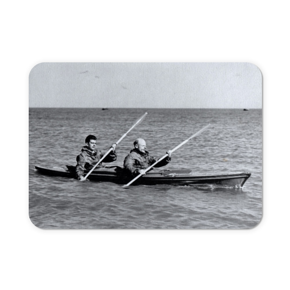 A MK2 canoe with Major Hasler & Captain Stewart showing paddling styles in.. Mousemat