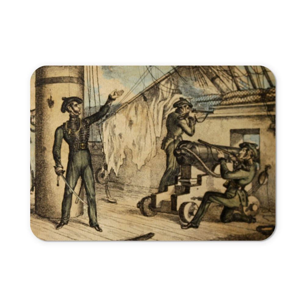 etching, Marine riflemen in action on board an unidentified warship, c1835.. Mousemat