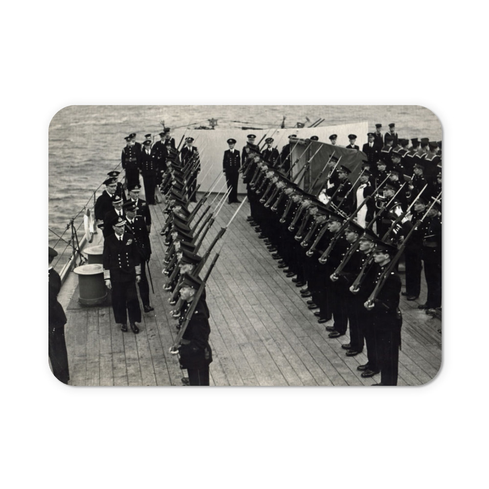 H M King George inspecting Royal Marines of the ship's RM Detachment.. Mousemat