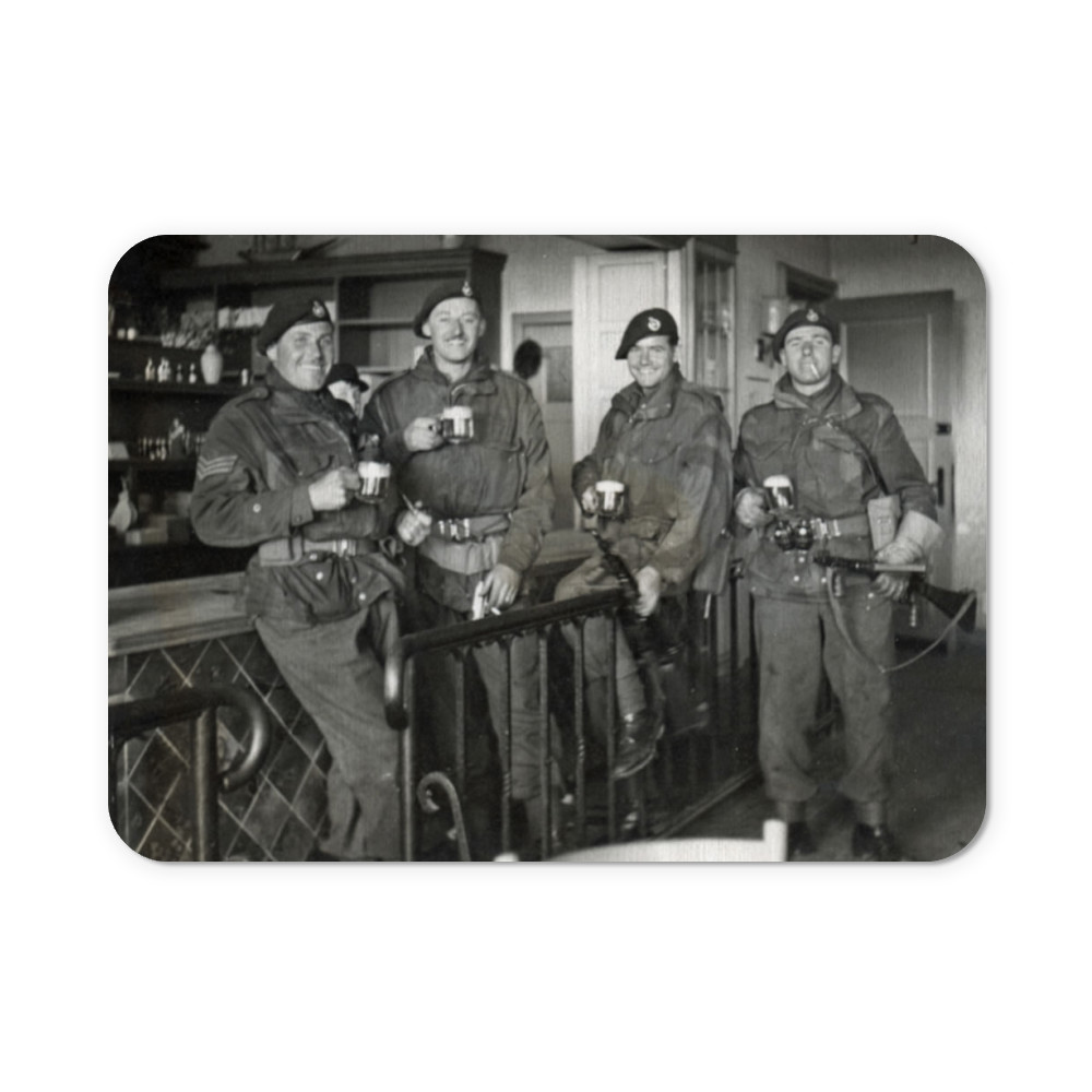 Royal Marine Commandos drinking beer at Buxtehude, Lower Saxony, Germany,.. Mousemat