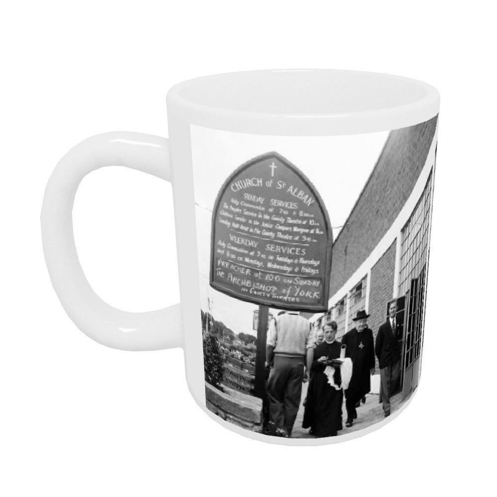 Dr. Cyril Garbett, the Archbishop of York visiting Butlins Holiday Camp,.. Mug