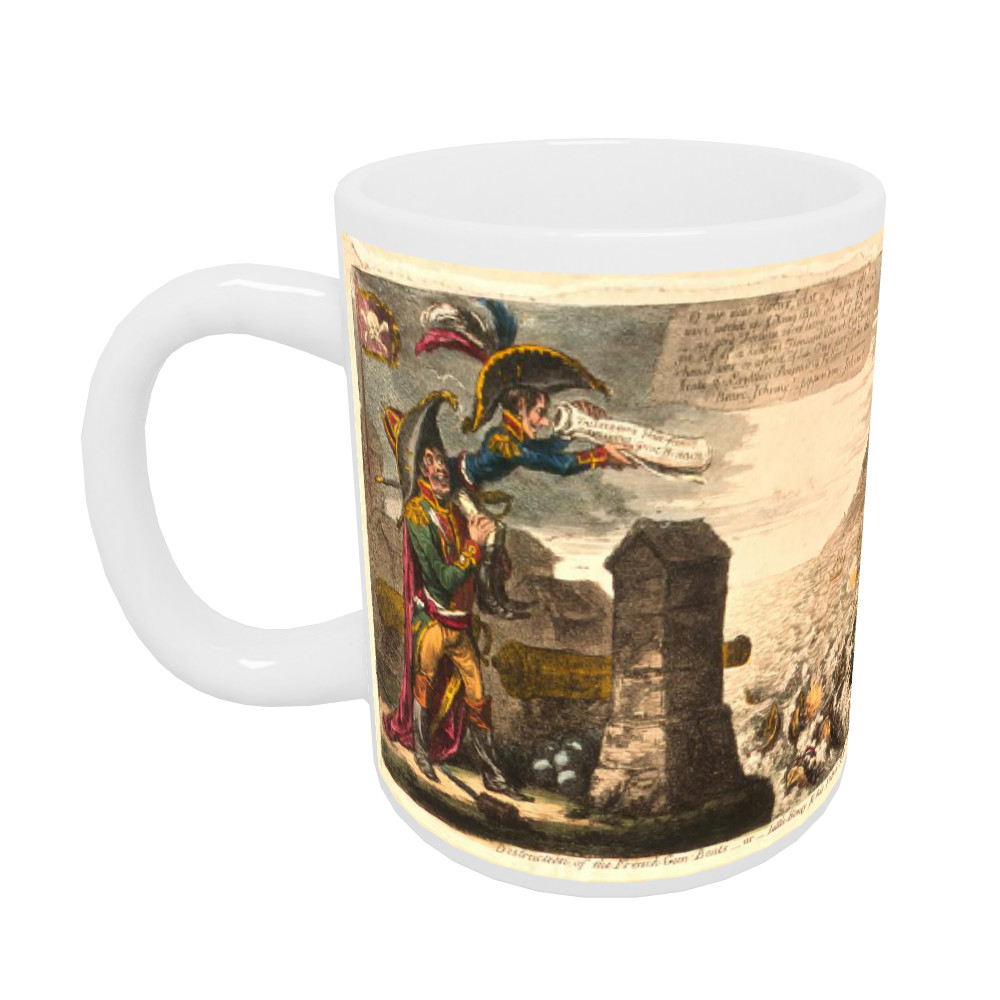 Destruction of the French Gun Boats or Little Boney and his Friend Tally in high Glee Mug