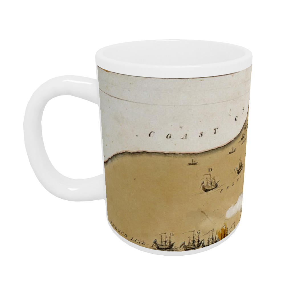 An Exact Representation of the English & French Fleets Under the Command of Rear Admiral Nelson off the Mouth of the Nile. Mug