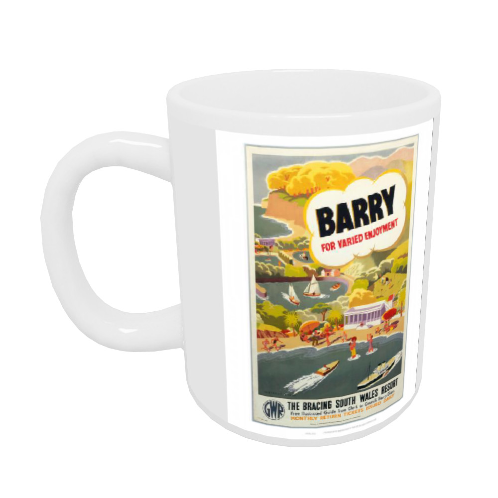 'Barry for Varied Enjoyment', GWR poster, c.1930s.    Mug