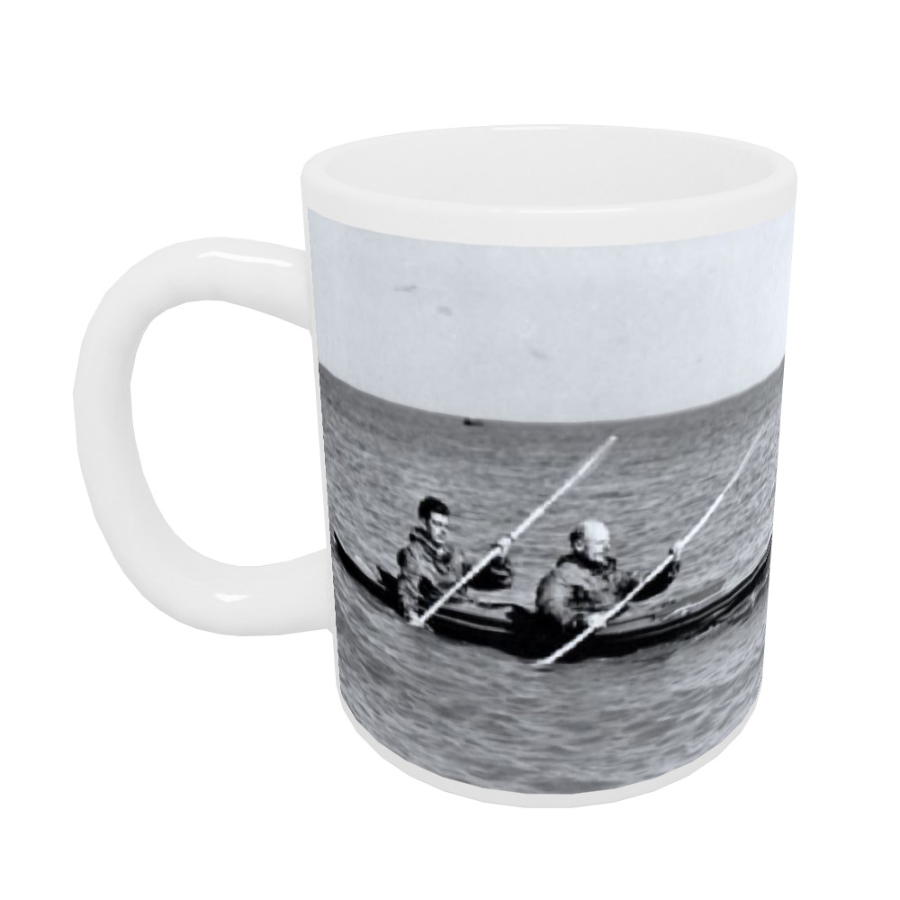 A MK2 canoe with Major Hasler & Captain Stewart showing paddling styles in.. Mug