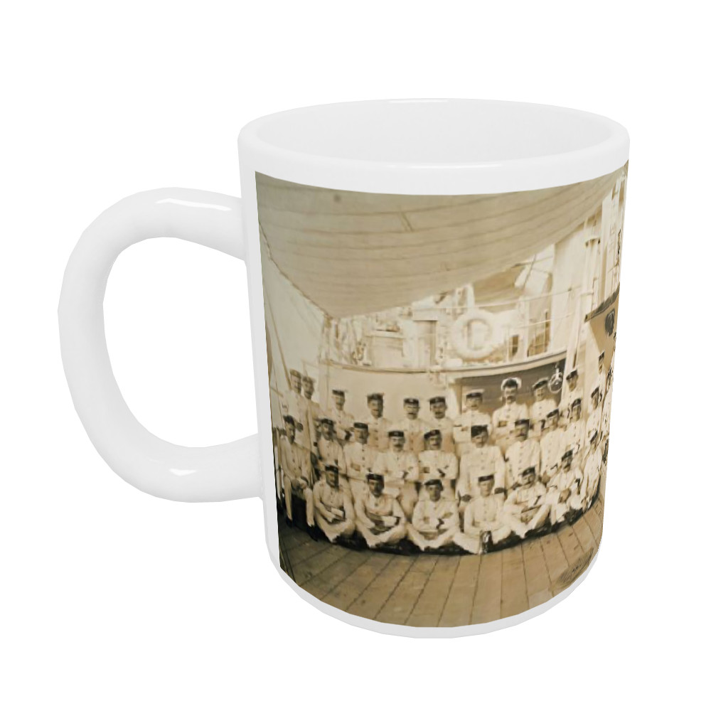 Royal Marine detachment aboard the cruiser HMS Astrea, c1905. Location.. Mug