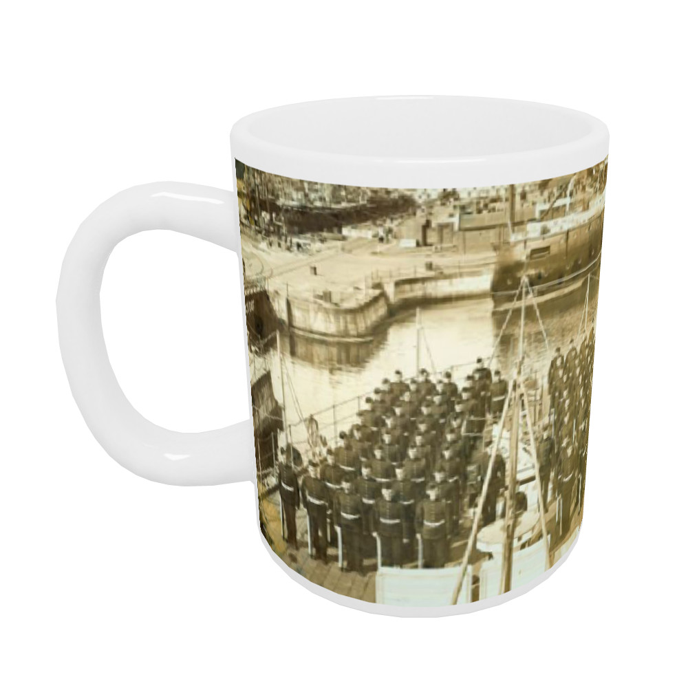 Royal Marines Detachment of the cruiser HMS Andromeda ashore at HM.. Mug