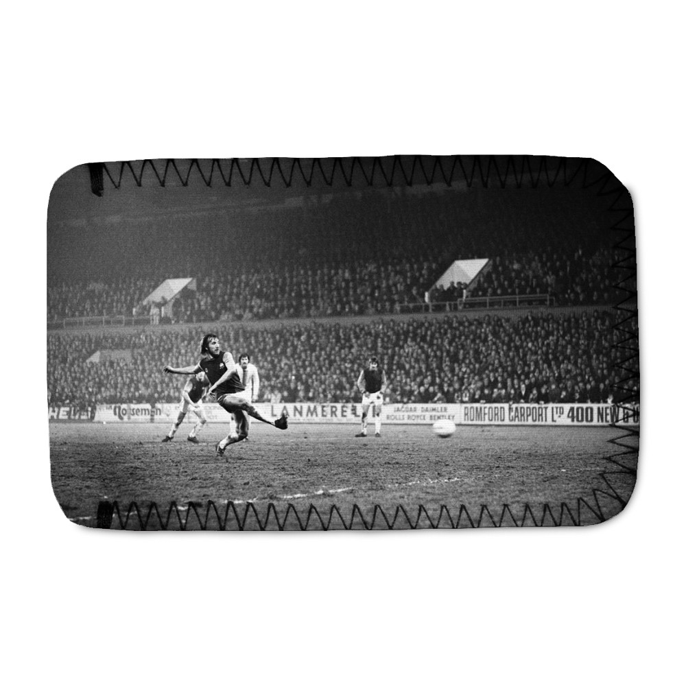European Cup Winners Cup, West Ham 3 v Den Haag 1. Billy Bonds shoots for.. Phone Sock