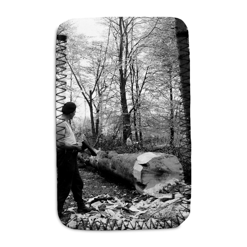 Men chopping a tree down in Ashridge.. Phone Sock