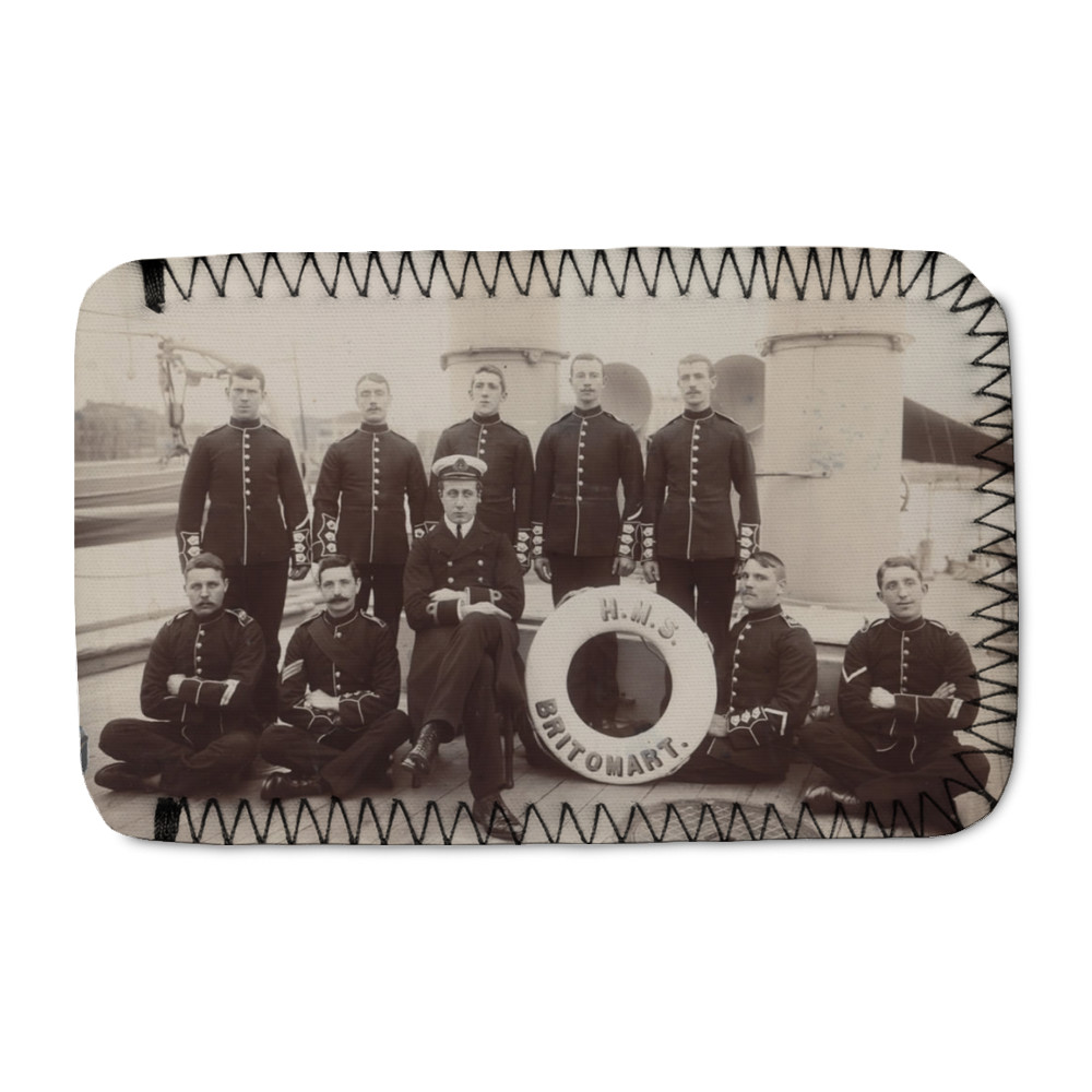 Royal Marine Detachment aboard the gunboat HMS Britomart, c1900. Location.. Phone Sock