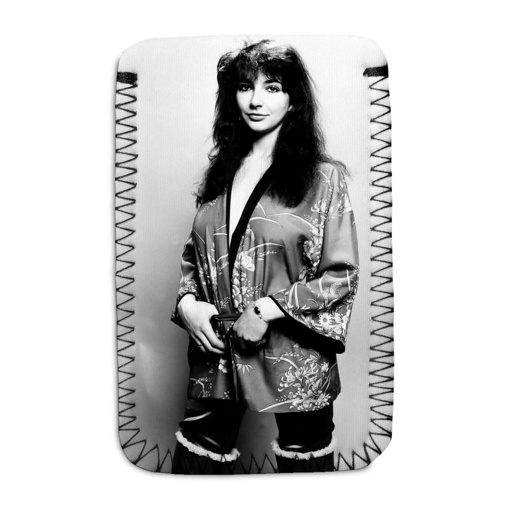 Pop singer Kate Bush poses in the studio wearing a kimono Phone Sock