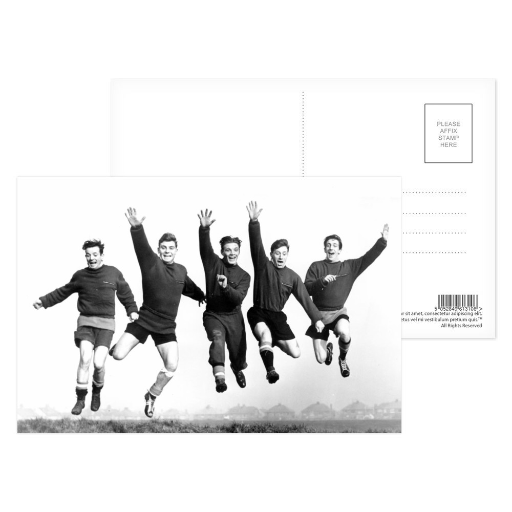 Busby babes Johnny Berry, Duncan.. Postcard (x8)