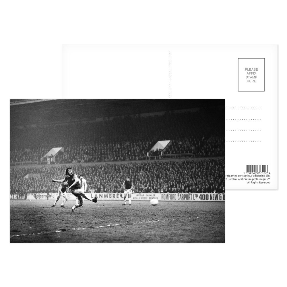 European Cup Winners Cup, West Ham 3 v Den Haag 1. Billy Bonds shoots for.. Postcard (x8)