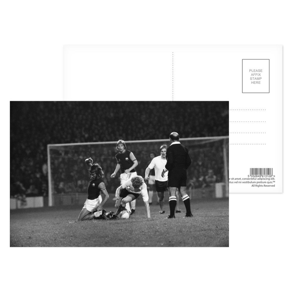 European Cup Winners Cup. West Ham v Reipas Lahden. Billy Bonds challenged.. Postcard (x8)