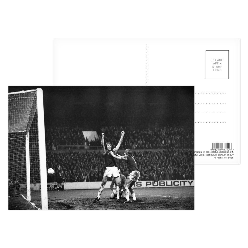 European Cup Winners Cup. West Ham 3 v Den Haag 1, Billy Bonds celebrates... Postcard (x8)