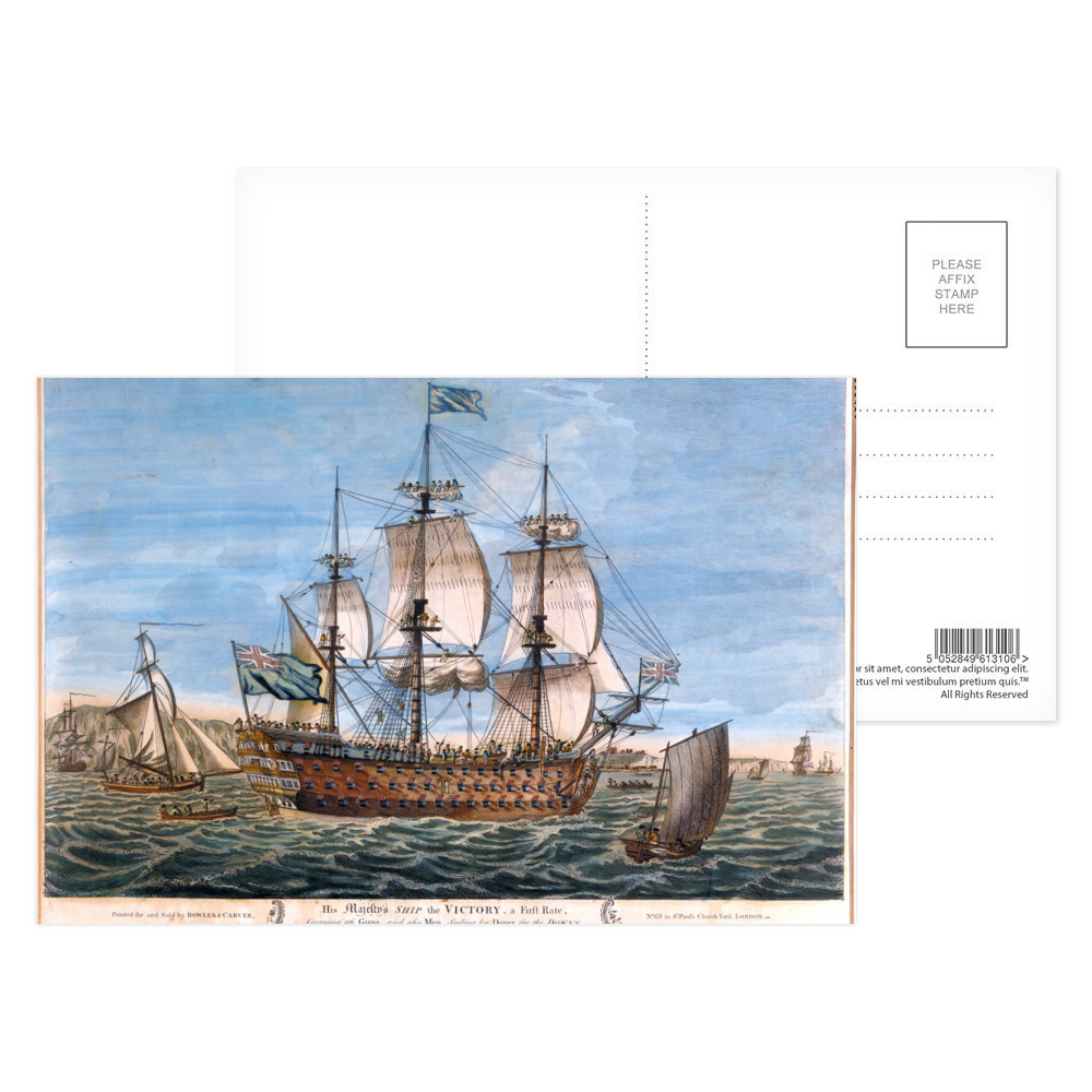 His Majestys Ship the Victory, a First Rate, Carrying 116 Guns and 960 Men, Sailing by Dover for the Downs Postcard (x8)