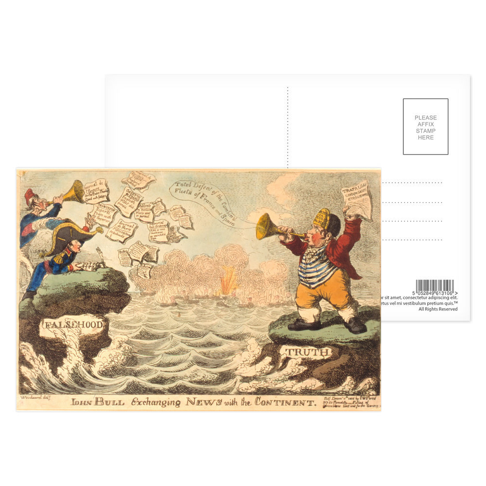 John Bull Exchanging News with the Continent Postcard (x8)