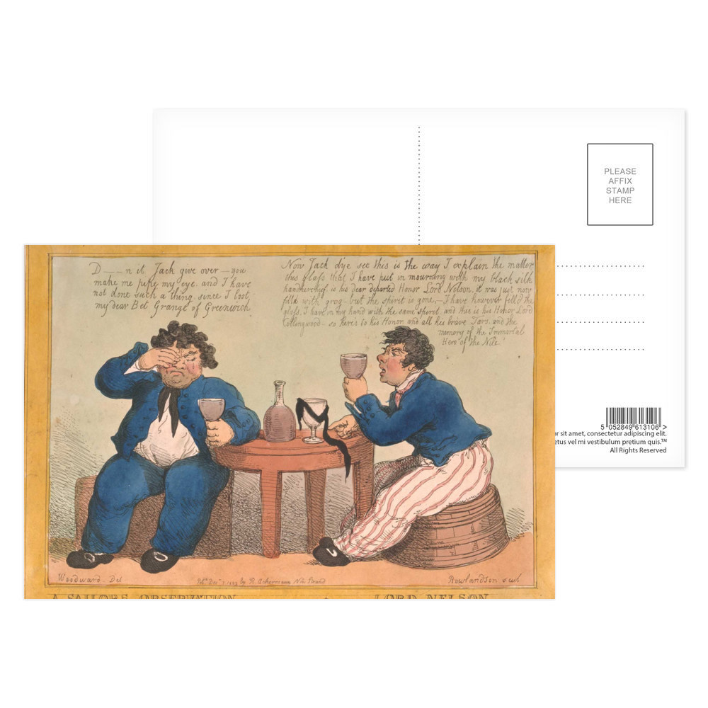 A Sailors Observation on the Lamented Death of Lord Nelson Postcard (x8)