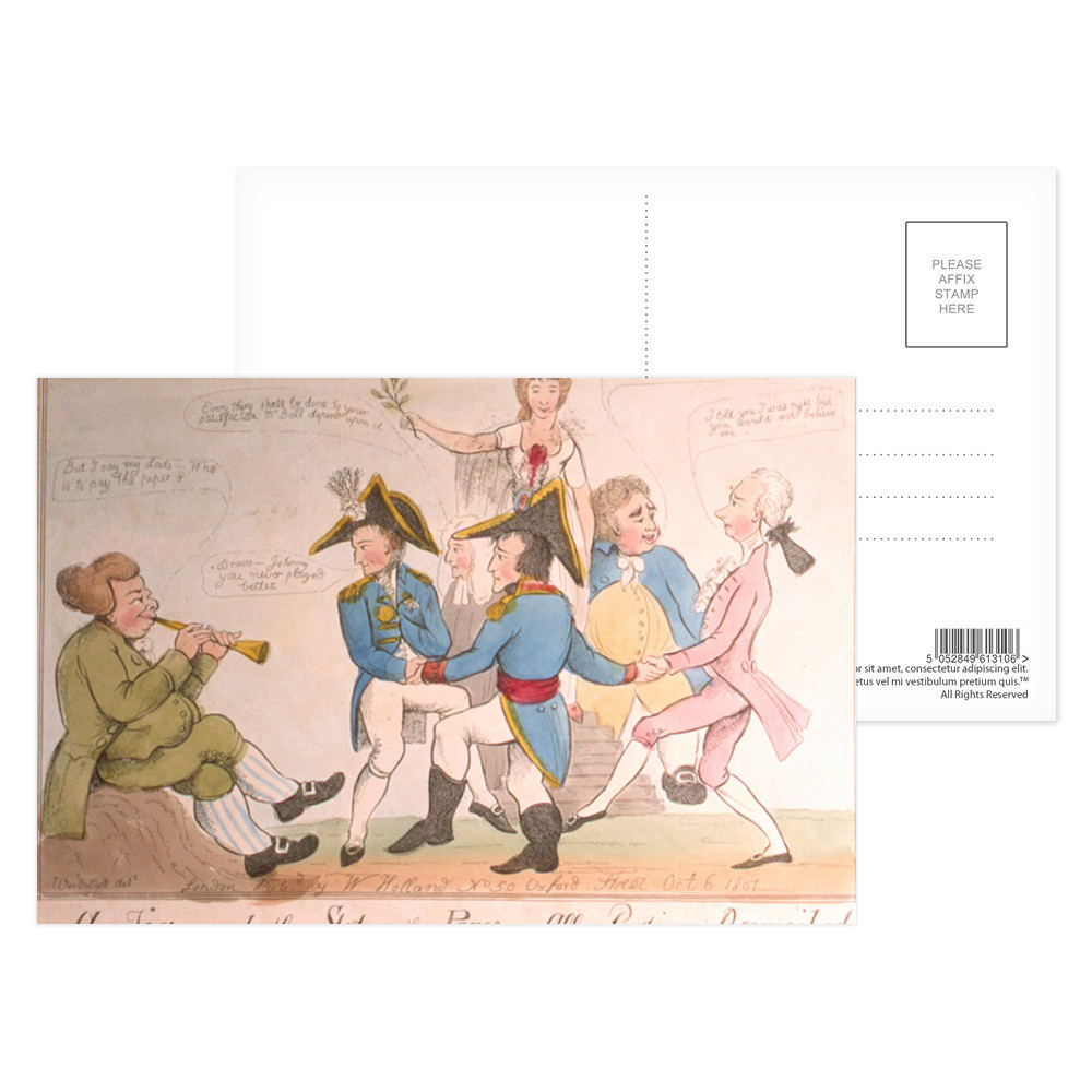 A Jig Round the Statue of Peace or All Parties Reconciled Postcard (x8)