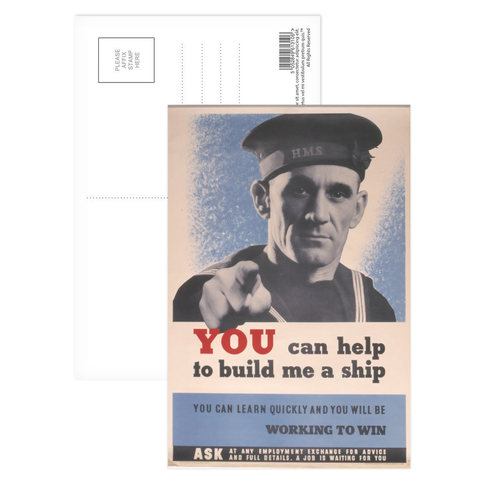 You Can Help to Build Me a Ship Postcard (x8)