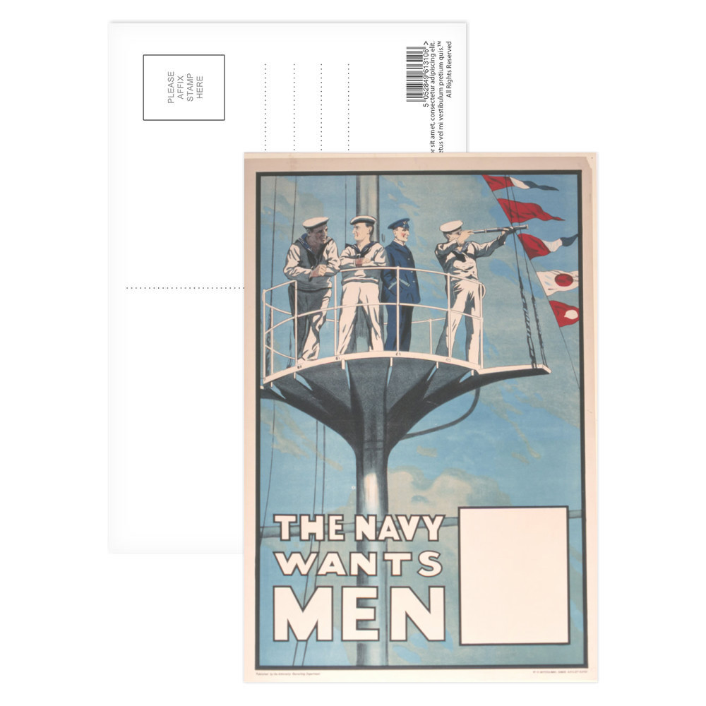 The Navy Wants Men Postcard (x8)