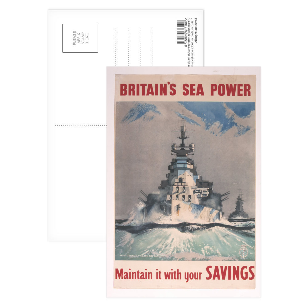 Britains Sea Power. Maintain it With Your Savings Postcard (x8)