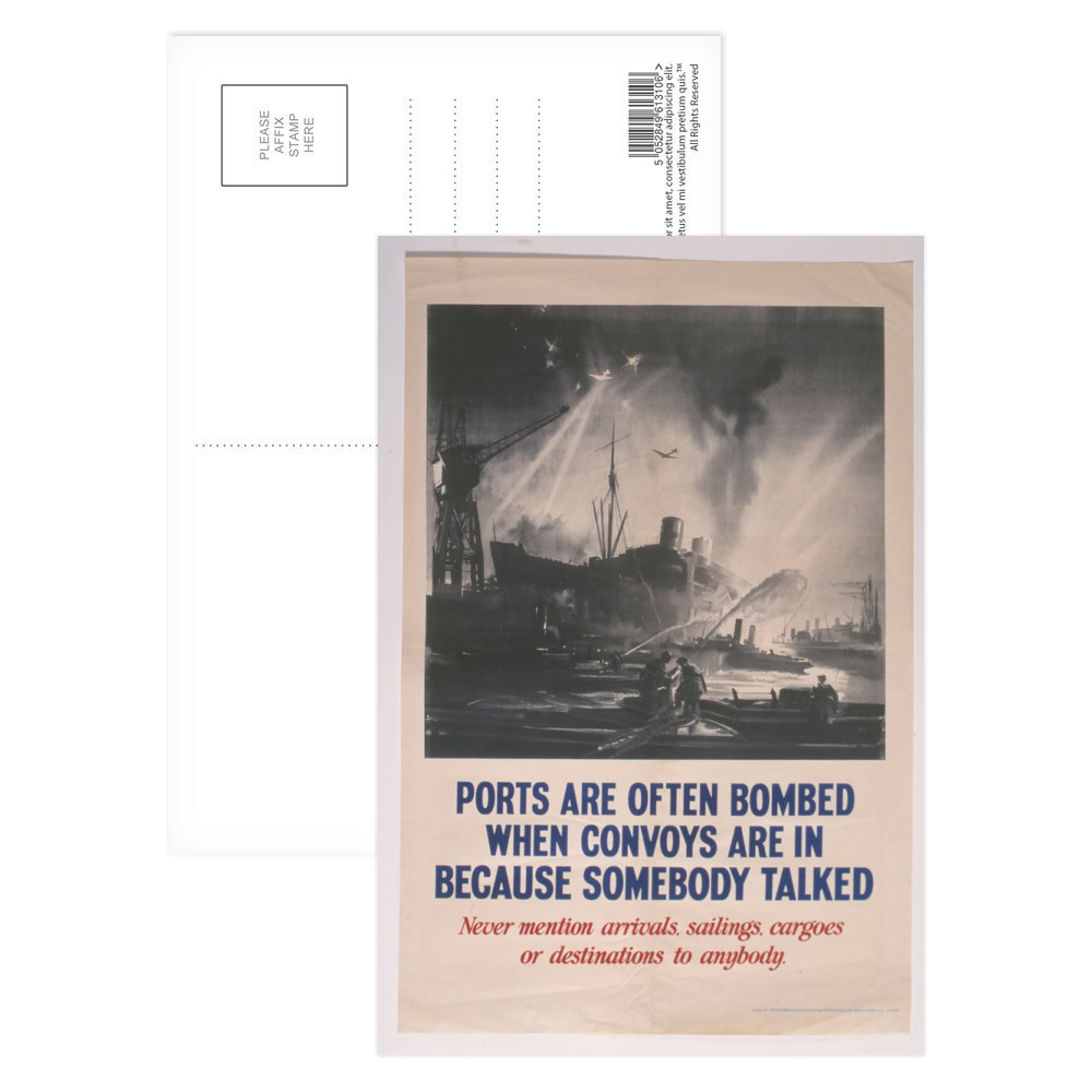 Ports are often Bombed when Convoys are in Because Somebody Talked Postcard (x8)