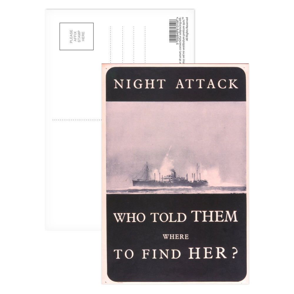 Night Attack - Who Told Them Where to Find Her? Postcard (x8)
