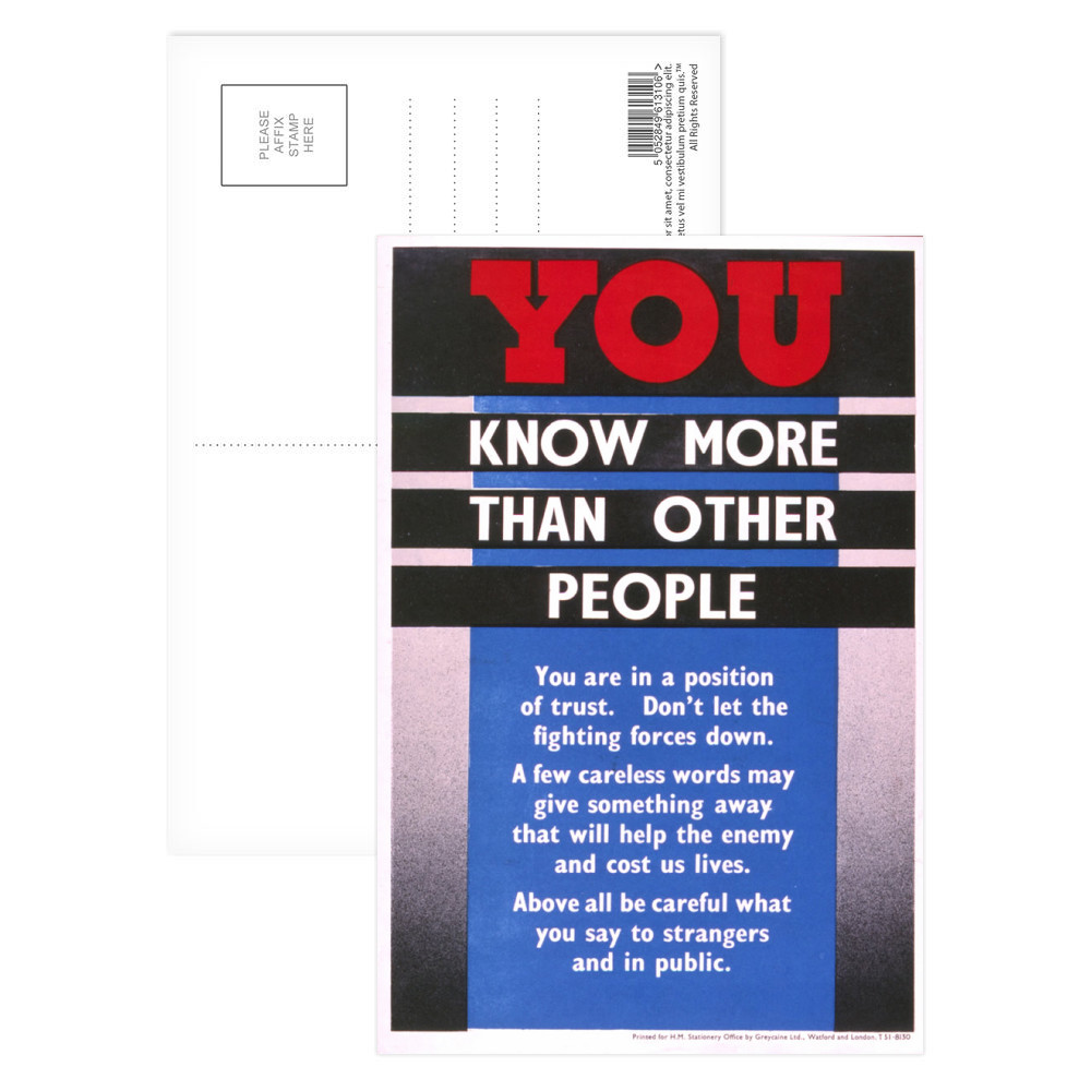 You Know More Than Other People Postcard (x8)