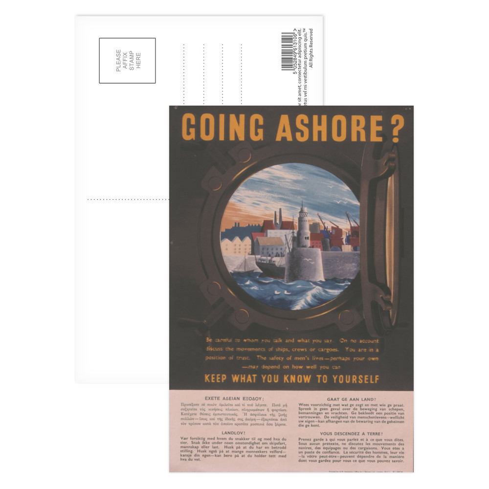 Going Ashore? Keep What You Know to Yourself Postcard (x8)