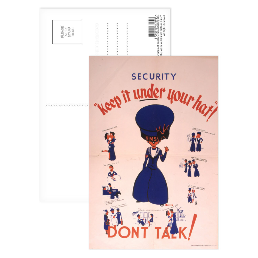 Security Keep it Under Your Hat - Don't Talk Postcard (x8)