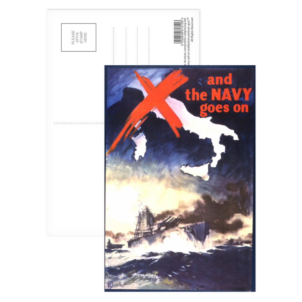 And the Navy Goes On Postcard (x8)