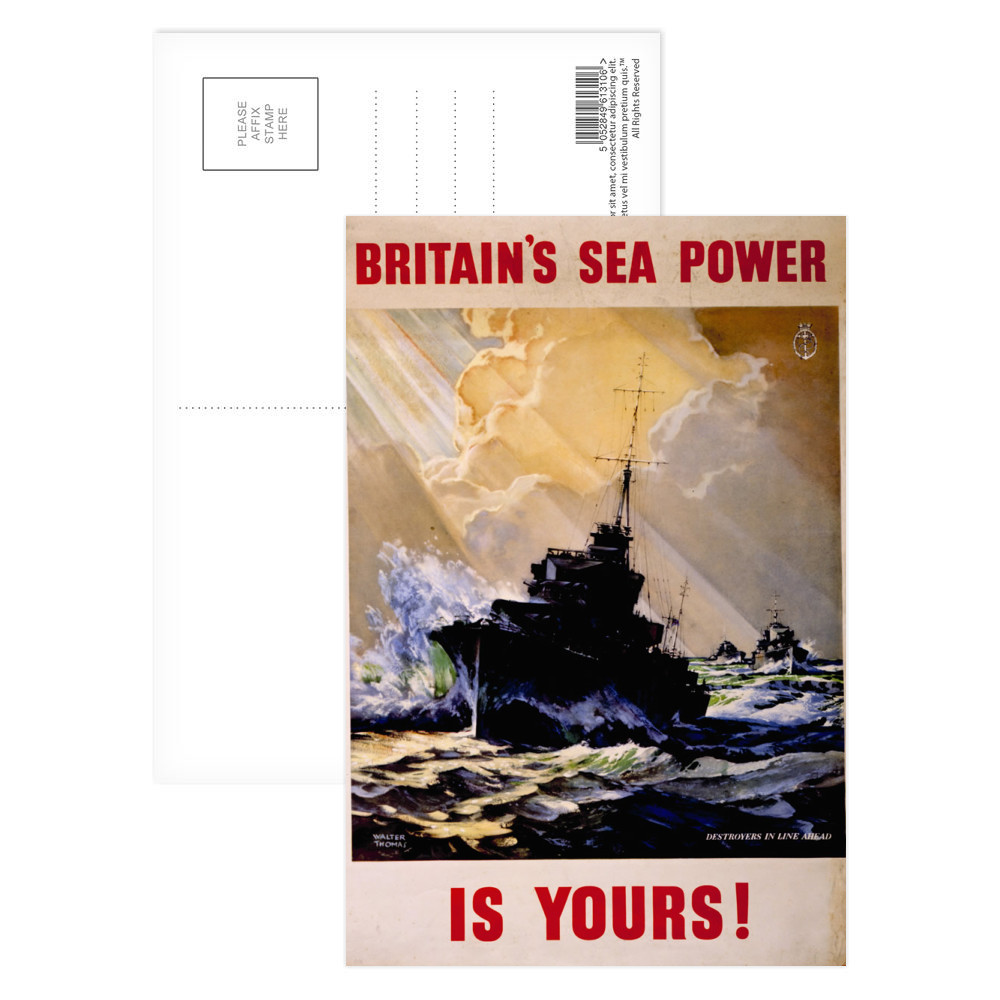 Britain's Sea Power is Yours! Destroyers in Line Ahead Postcard (x8)