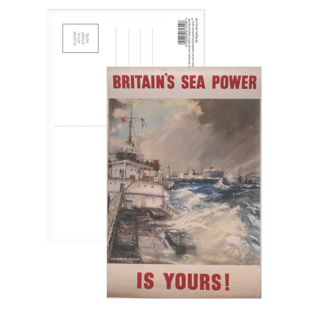 Britain's Sea Power is Yours! Tankers in Convoy Postcard (x8)