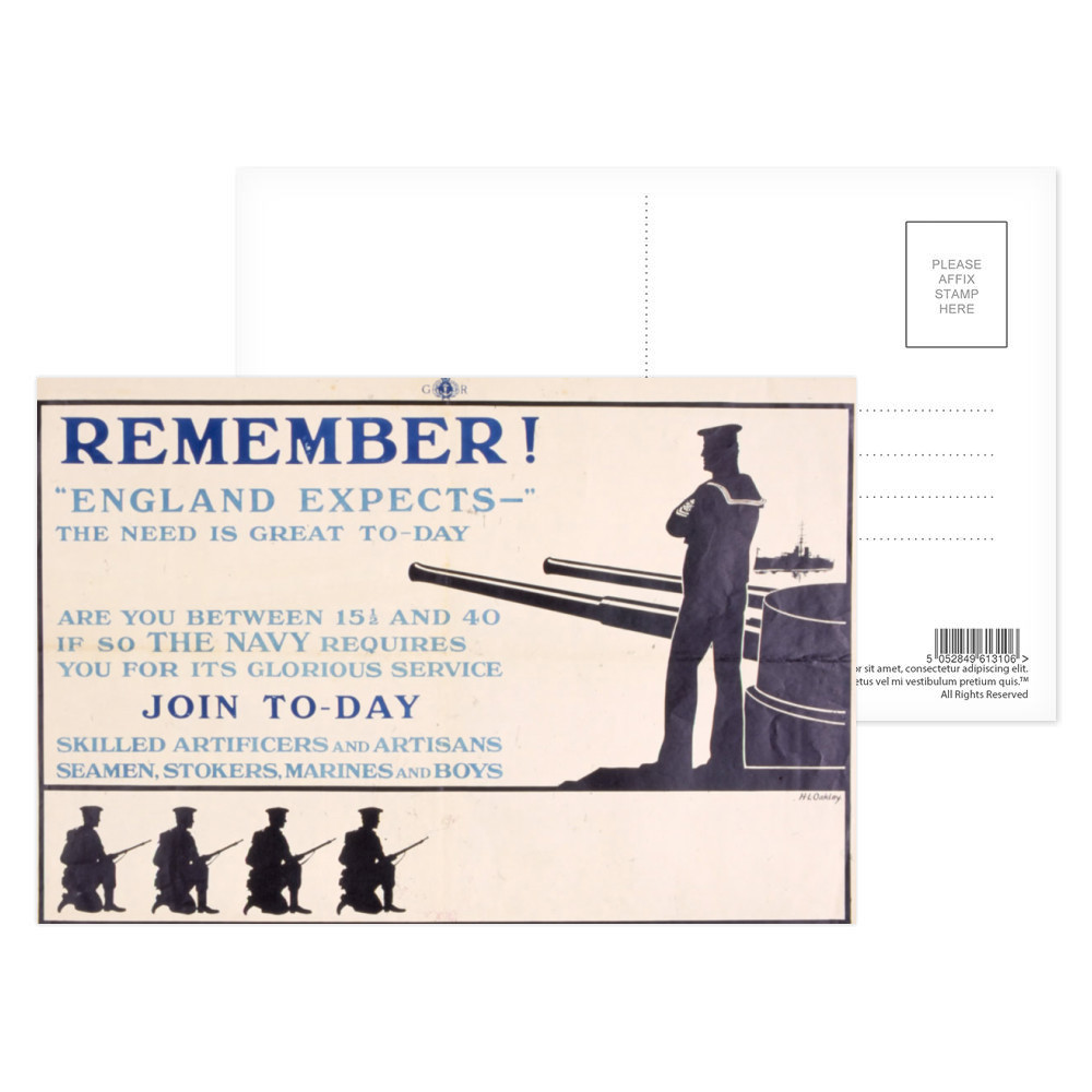 Remember! 'England Expects' The Need is Great To-Day Postcard (x8)