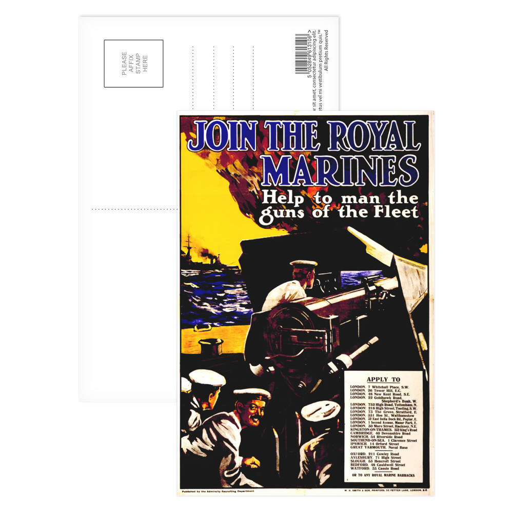 Join The Royal Marines Postcard (x8)