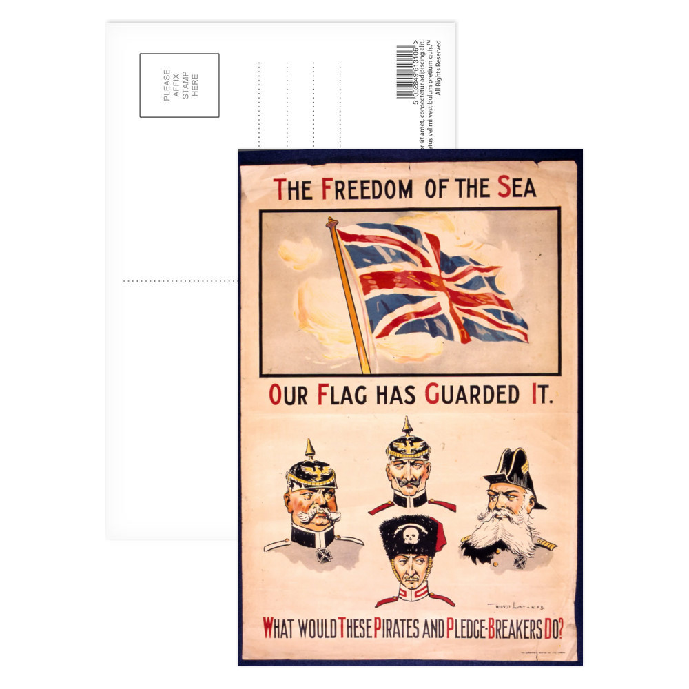 The Freedom of The Sea Our Flag Has Guarded It Postcard (x8)