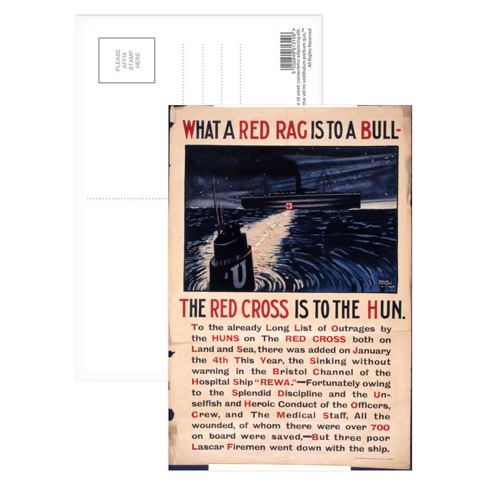 What a Red Flag is to a Bull the Red Cross is to the Hun. Postcard (x8)