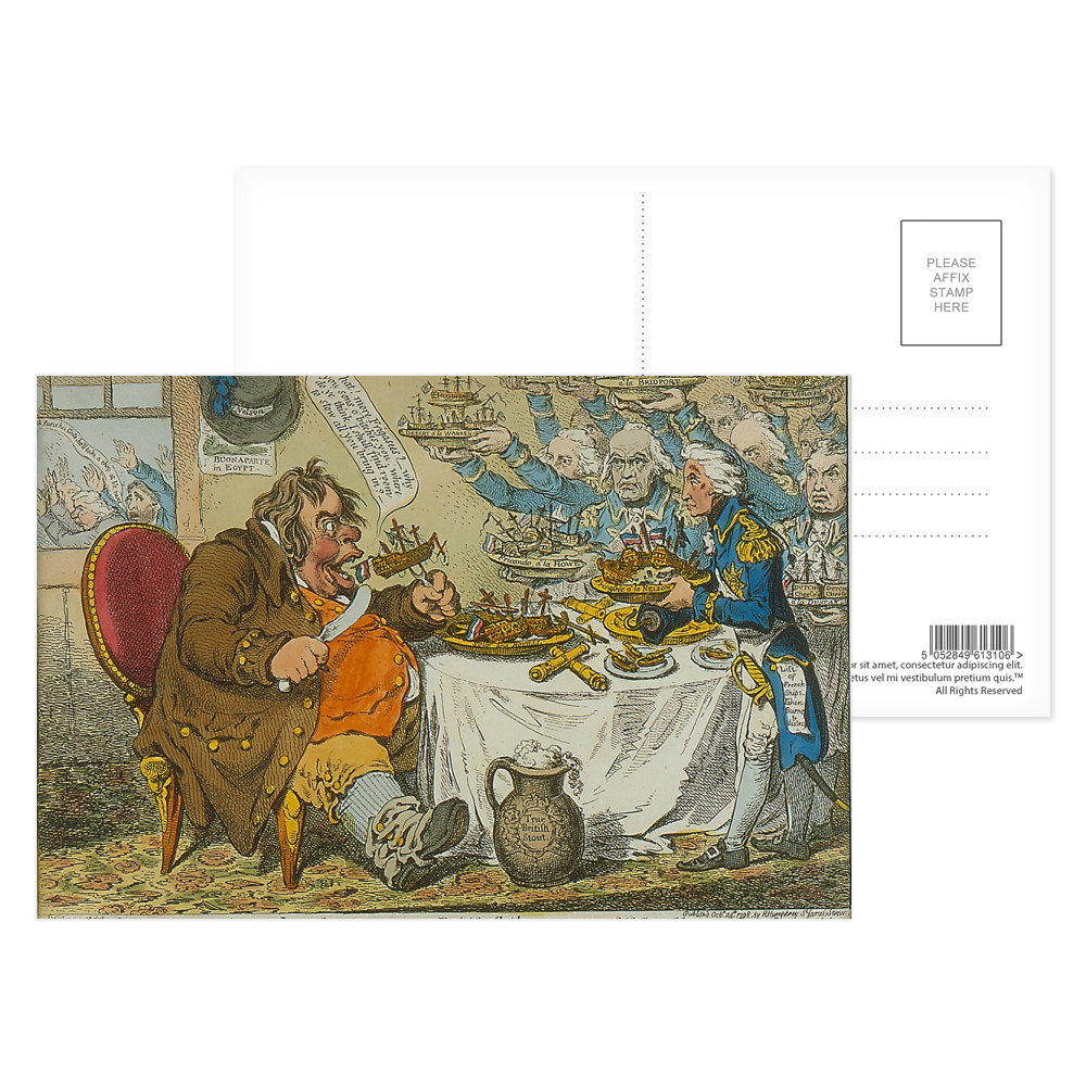 John Bull Taking a Luncheon Postcard (x8)