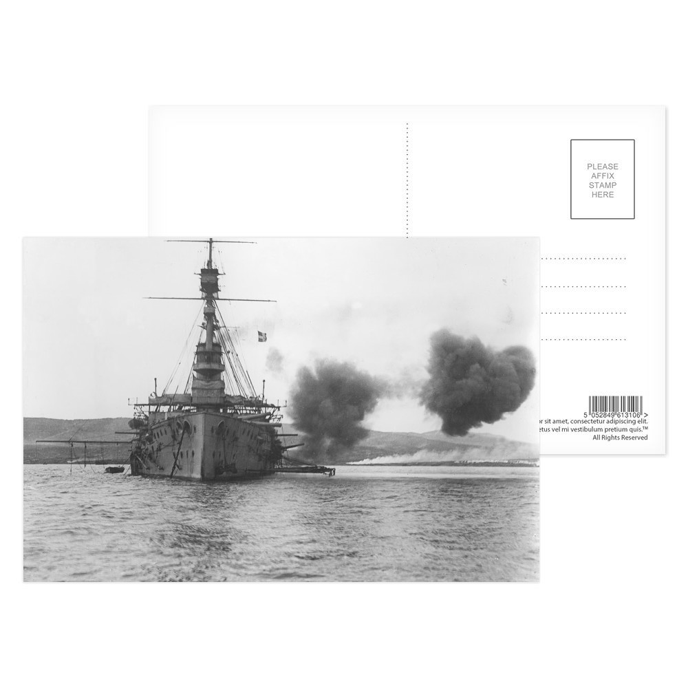 HMS Cornwallis at the Bombardment of Gallipoli Postcard (x8)