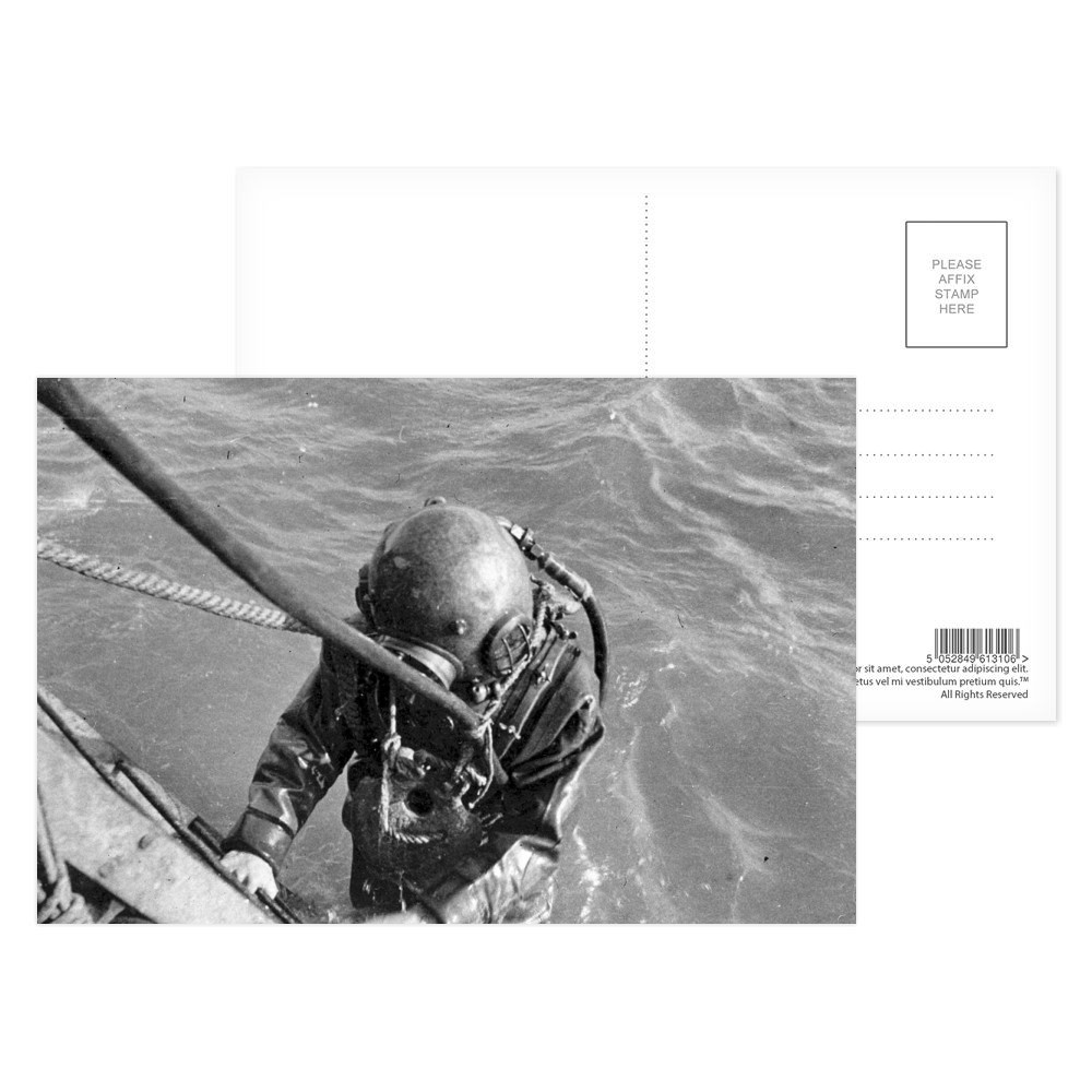 Diver Emerging From the Water Postcard (x8)