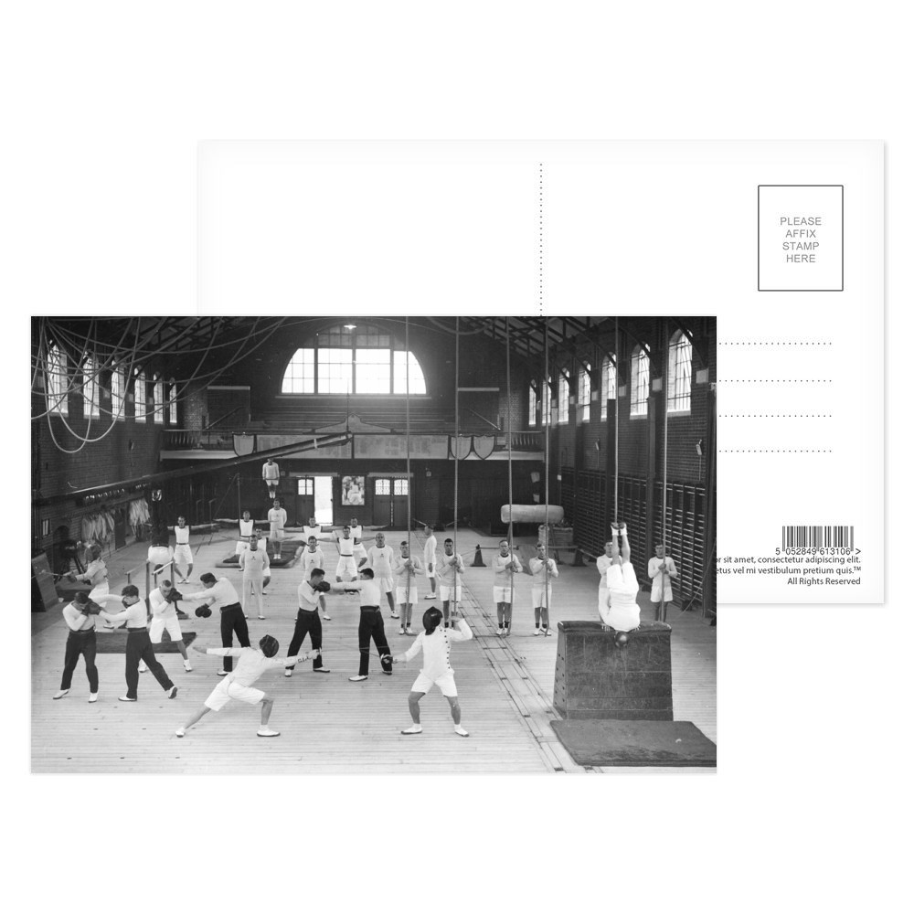 Gymnasium at the Royal Naval Barracks Portsmouth Postcard (x8)