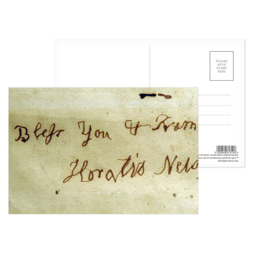 Left Handed Writing of Admiral Lord Nelson Postcard (x8)