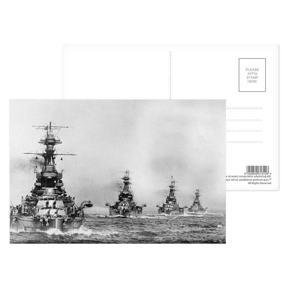 R Class Battleships in Line Ahead Postcard (x8)