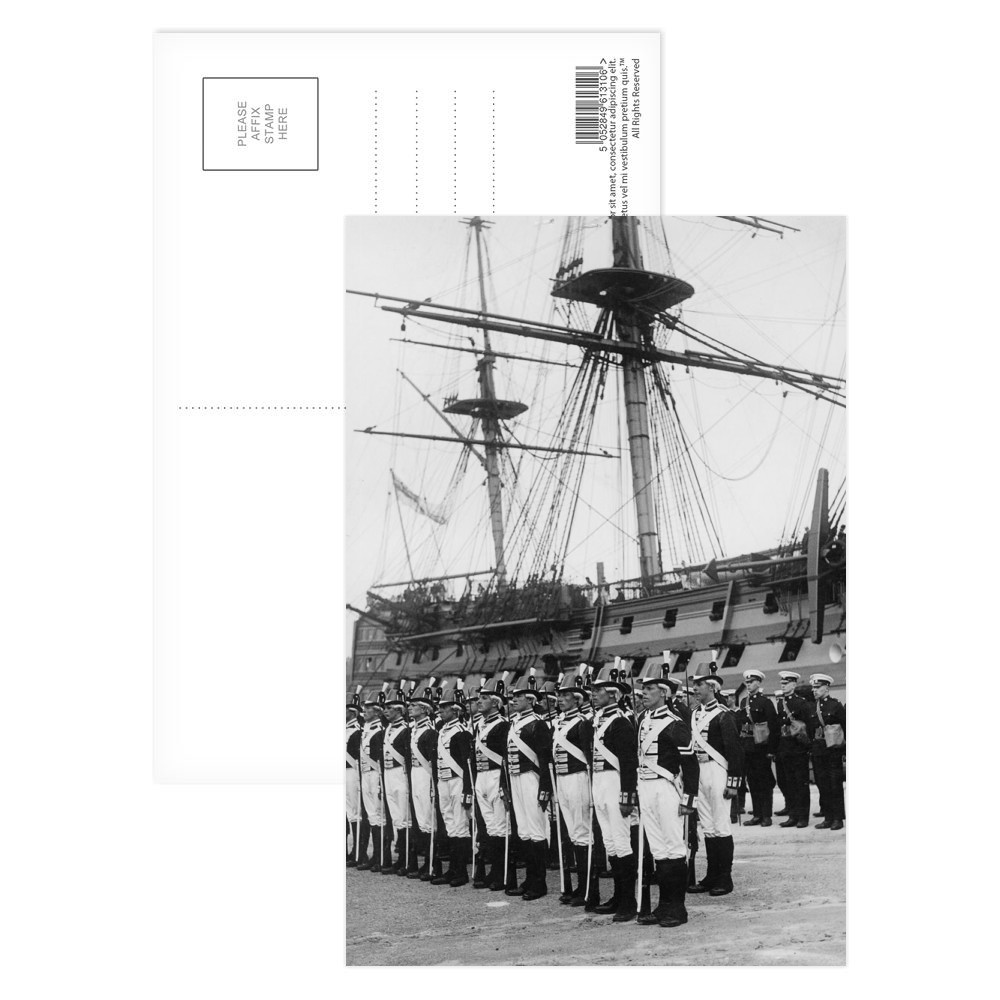 Ceremony Beside HMS Victory, 1930s Postcard (x8)