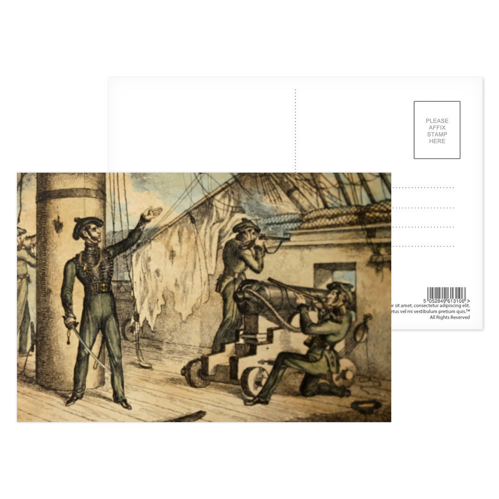 etching, Marine riflemen in action on board an unidentified warship, c1835.. Postcard (x8)