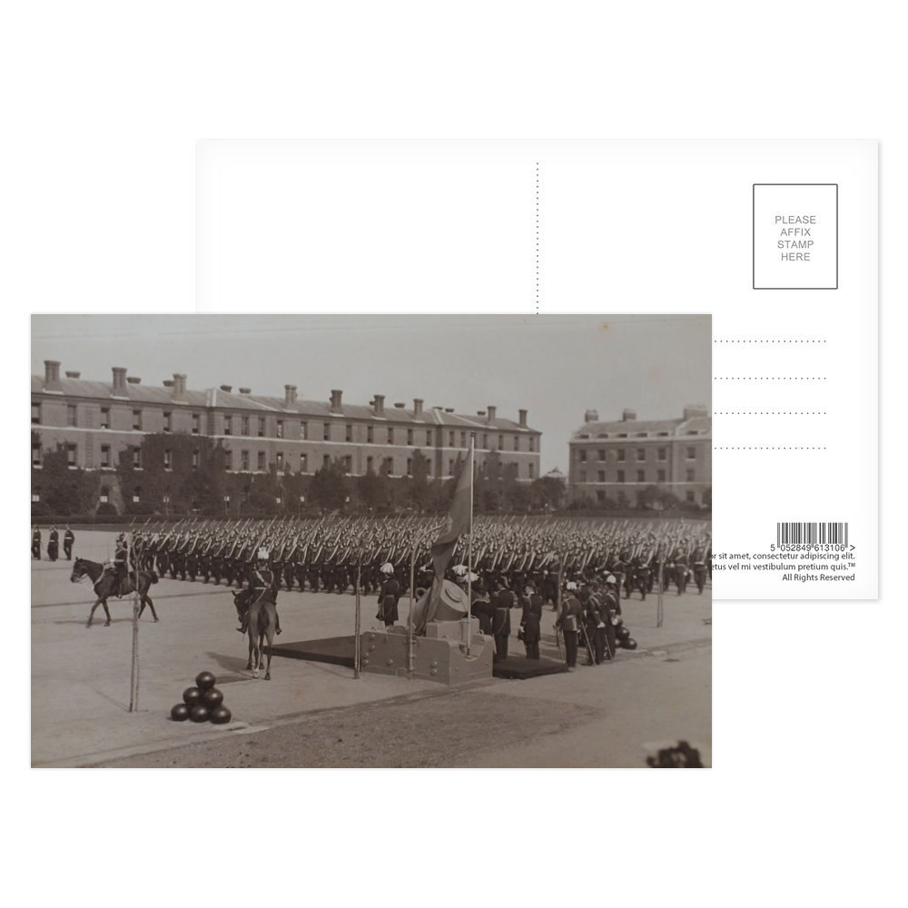 The Royal Marine Artillery march past their Colonel in Chief, HRH Prince.. Postcard (x8)