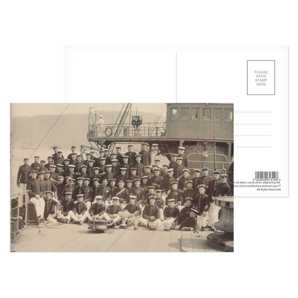 Royal Marine Detachment aboard the cruiser HMS Diadem, probably on the.. Postcard (x8)